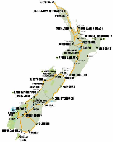 The route network of KIWI Experience